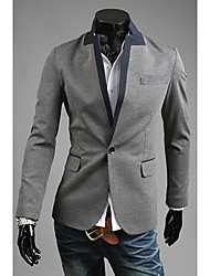 OHFZ Herren Graue Farbe Kontrast One Button Suit