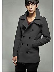 FSCL Men's Lapel Double Breasted Thicken Overcoat(Dark Gray)