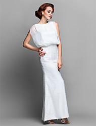 Lanting Bride® Sheath / Column Plus Size / Petite Mother of the Bride Dress Floor-length Sleeveless Chiffon / Lace with Beading