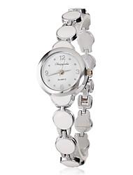 Women's Little White Dial Round Alloy Band Quartz Analog Wrist Watch