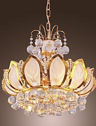 lussureggianti moderne luci di cristallo a sospensione a 6 luci di loto descritto