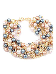 Lureme®Multi-layers Pearls Chain Bracelet