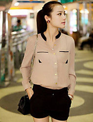 Frauen Mock Neck Chiffon-Bluse