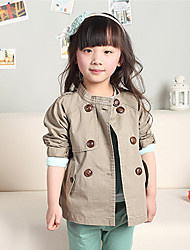 Girl's Pink Trench Coat Cotton All Seasons