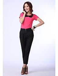 Cuello redondo manga corta Ocio Puro Fuchsia camisa de algodón de unifo Mostrar Mujeres