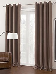 Dois Painéis Tratamento janela Modern , Sólido Sala de Estar 100% Poliéster Poliéster Material Cortinas Blackout Decoração para casa For