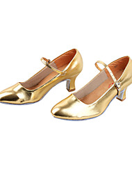 Non Customizable Women's Dance Shoes Modern/Ballroom Leatherette Chunky Heel Black/Silver/Gold