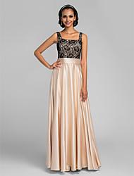 Lanting Bride® Floor-length Charmeuse Bridesmaid Dress - A-line Square Plus Size / Petite with Lace / Sash / Ribbon