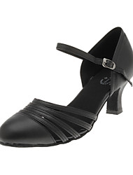 Non Customizable Women's Dance Shoes Modern/Ballroom/Practice Shoes Satin Flared Heel Black