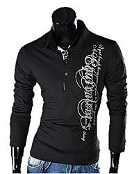 v-cuello de los hombres de la camiseta delgada impresa