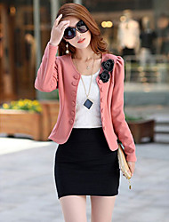 Women's Fashion OL Lady  Blazer Double Breasted Puff Sleeve Jacket Bow Tie Back Coat