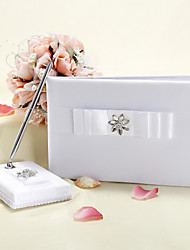 White Wedding Guest Book and Pen Set With Rhinestone and Bow