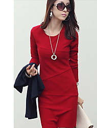 YGR Women's Red High Quality Fitted Long Sleeve Dress