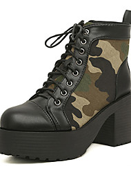 Kimberly Camouflage rotonda Toe High Heel Shoes (Nero)