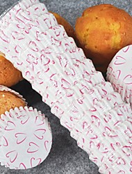 Heart Pattern Cupcake Wrappers - Set of 100