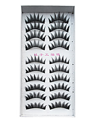 10 Pairs European Fiber EyeLash Black False Eyelashes