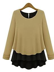 Queen Frauen Langarm Rundhals-Shirt Kontrast Farbe