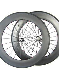 Larghezza di 25mm 700C carbonio 88 millimetri completa tubolari della bici della strada / Ruote bici