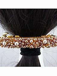 Moda Hermosa perla de la aleación con el cristal de café Hojas de las horquillas de la Mujer