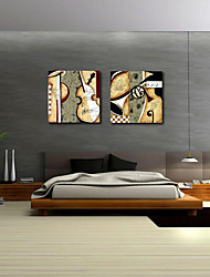 Stretched Canvas Print Art Abstract Classic Music Set of 2