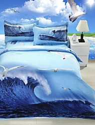 Duvet Cover Set,4-Piece 3d Effect Printed Sea Gull Full Size