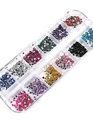 3000PCS 12-Color 2mm Wheel Nail Art Glitter Tips Rhinestone Decorations