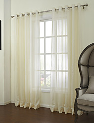 Two Panels Curtain Neoclassical , Solid Bedroom Linen/Polyester Blend Material Sheer Curtains Shades Home Decoration For Window