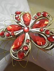 Luxe Bloemen Acryl Kralen Servetring, Dia4.2-4.5cm set van 12