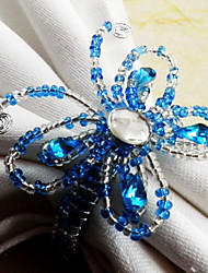 Butterfly Wedding Napkin Ring Set Of 12, Dia 4.5cm Glass Beads