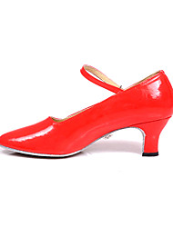 Non Customizable Women's Dance Shoes Modern/Ballroom Leatherette Chunky Heel Red