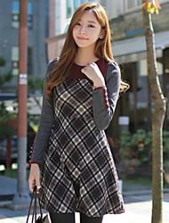HYSHA Contraste de color del patrón del cheque delgado vestido