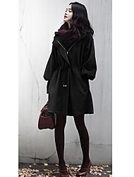 Korean Women's Puff Sleeve Coat Jacket with Hat Black