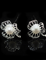 Fine Two Pieces Alloy Wedding Bridal Hairpins With Imitation Pearls