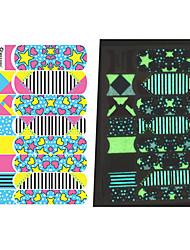 14PCS Cartoon lumineux colorés Stars & Aimer modèle de coeur Nail Art Stickers environnement enceinte