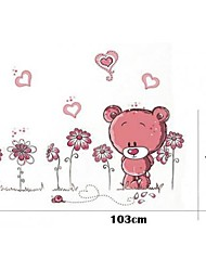 Little Pink Bear Wall Art Stickers With Decoration Clock Wallpapers