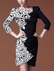 De S & Z Mujer blanca media manga Slant Collar Vestido Fit