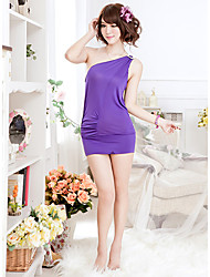 Ultrafino ombro único Mulher Pijamas Roupa Curta