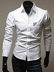 STJY Kontrast Farbe Langarmshirt Abnehmen Shirt (weiß)