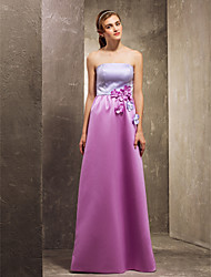 Floor-length Satin Bridesmaid Dress - Multi-color Apple / Hourglass / Inverted Triangle / Pear / Rectangle / Plus Sizes / Petite / Misses