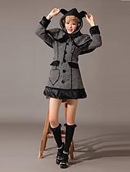 Manga larga Pequeño Comprueba Patrón capa del algodón Lolita Clásico