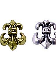 10PCS Bronze Golden&Silver Retro Chrome Hearts Nail Art Decorations(Type D,Assorted Colors)
