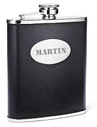 Gift Groomsman Personalized Black Leatherette 8-oz Flask