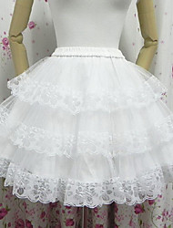 Angel Style Skirt Mesh Classic/Traditional Lolita Lolita Cosplay Lolita Dress White Solid Lolita Short Length Skirt For Women Polyester(Waist:60-85cm)