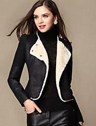 Sara-Wei épissure Tweed Manteau de cuir (noir)