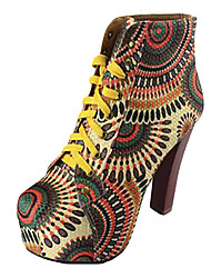 Kunstleder Chunky Heels Platform Ankle Boots
