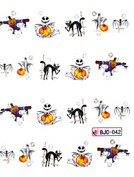 4PCS Water Transfer Print Cartoon Pumpkin Monster Pattern Nail Sticker