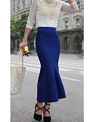 sexy trecho moda sereia das mulheres tricô saia longa