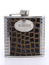 Personalized Gift Turtle Grain Pattern 5oz PU Leather Capital Letters Flask