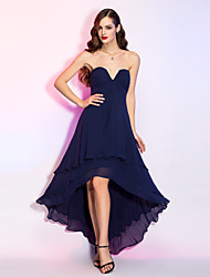 Homecoming Cocktail Party/Homecoming/Holiday Dress - Dark Navy Plus Sizes A-line V-neck Asymmetrical Georgette