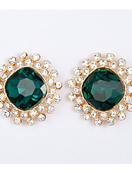 Rich Long Women's Green Round Earring